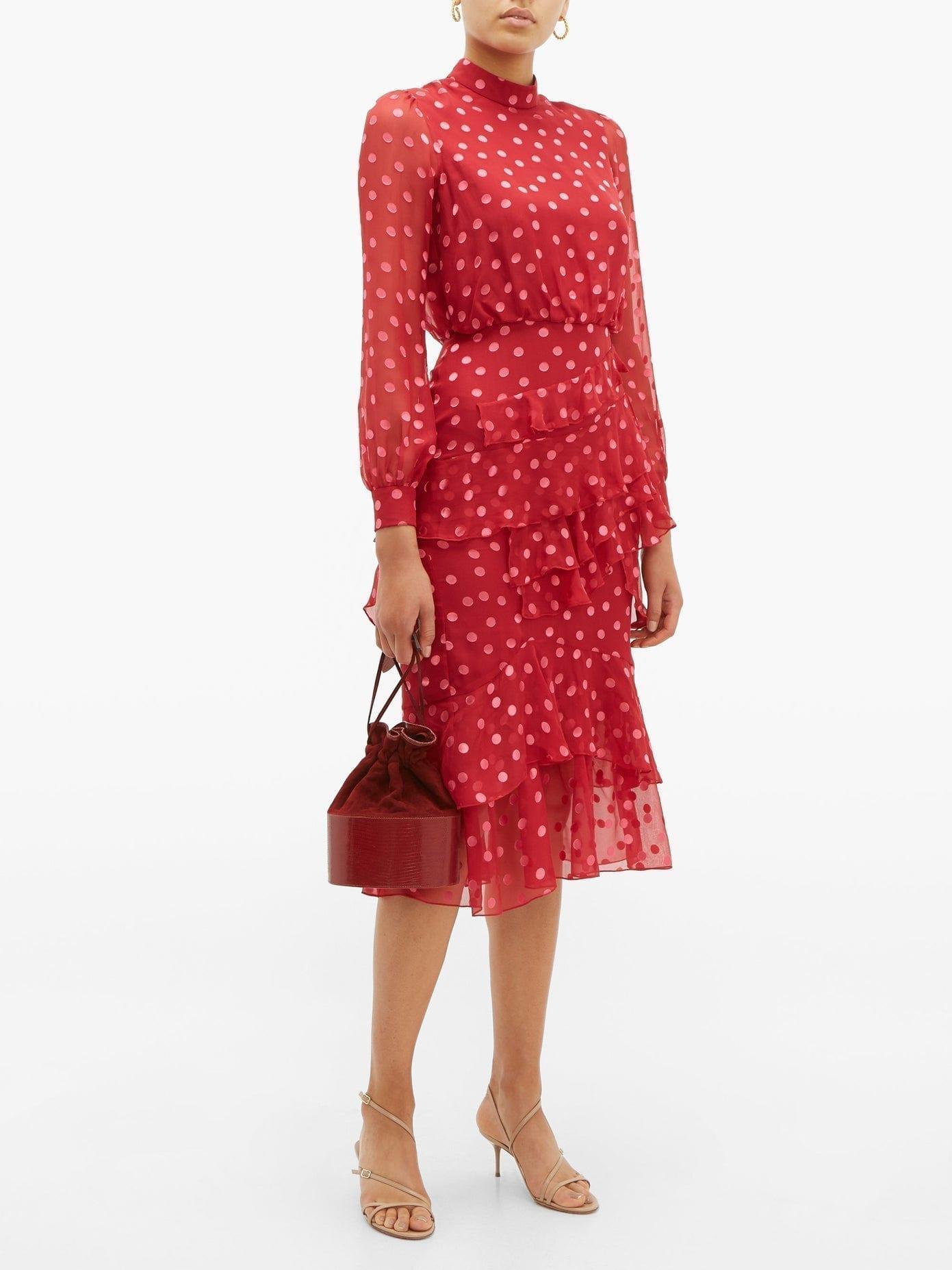 SALONI Isa Polka-dot Devoré Silk-blend Chiffon Dress