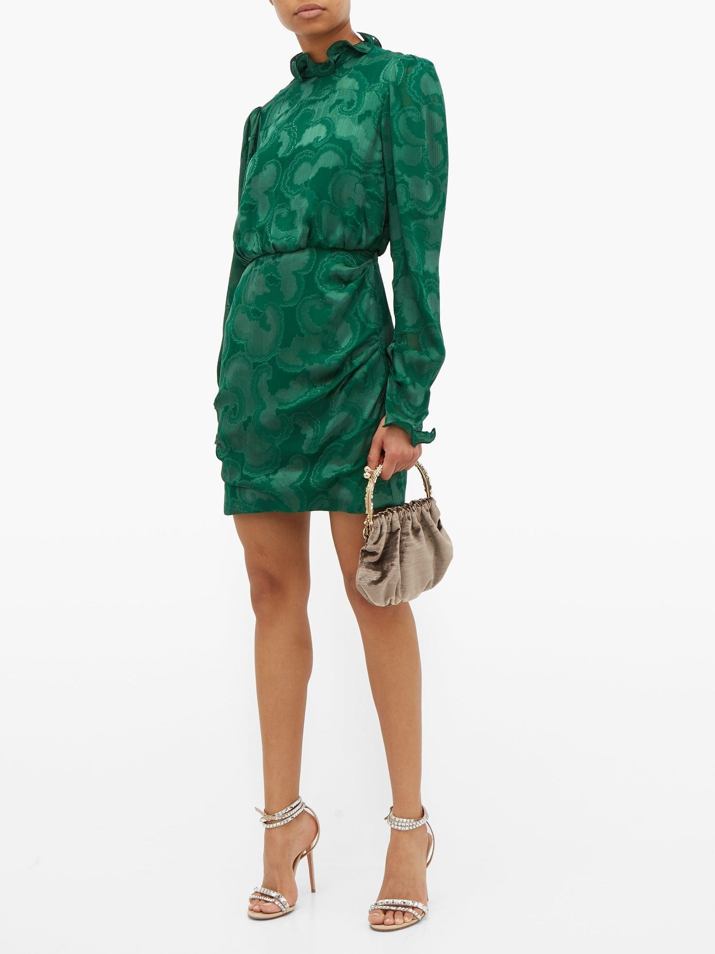 SALONI Rina Ruffled Silk-blend Jacquard Mini Dress
