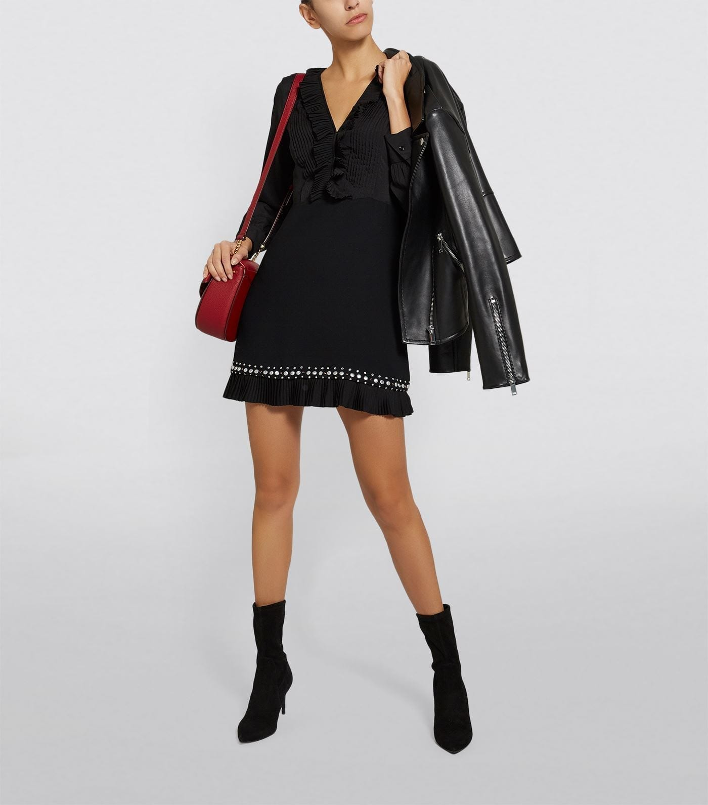SANDRO Studded Pleated Mini Dress