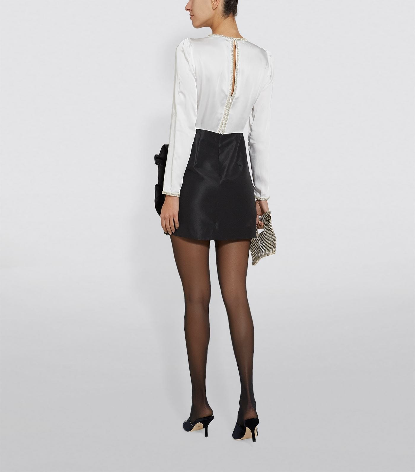SELF-PORTRAIT Bead-Embellished Ruffle Mini Dress