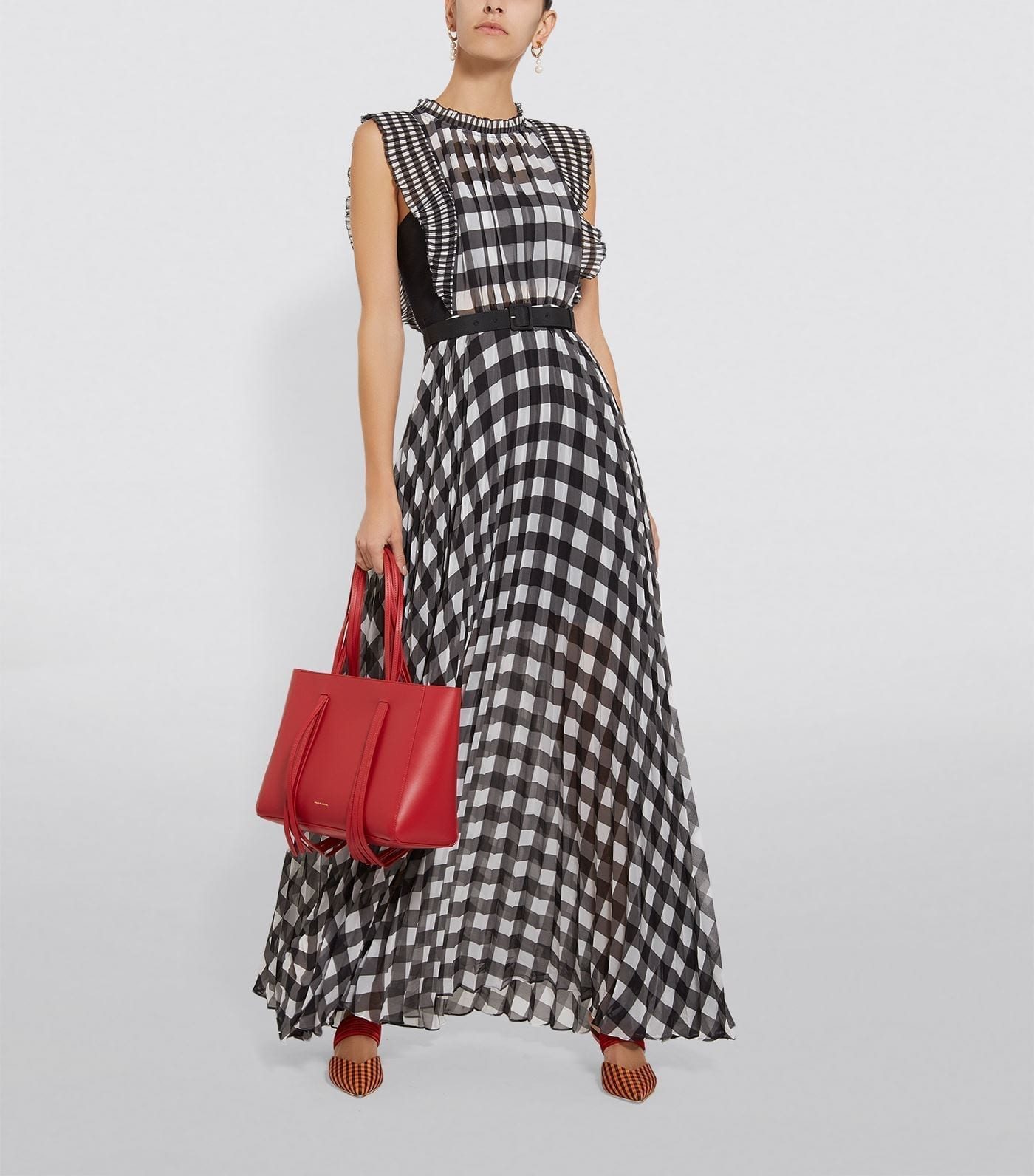 SELF-PORTRAIT Chiffon Gingham Dress