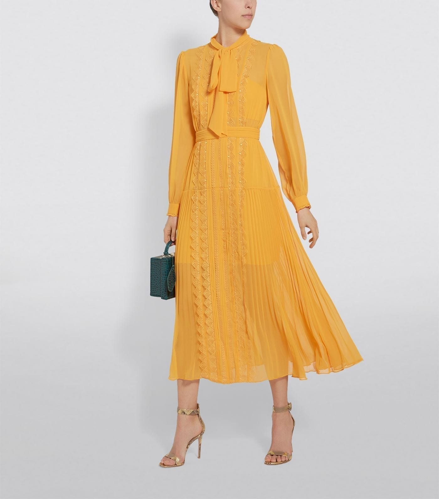 SELF-PORTRAIT Chiffon Lace Trim Midi Dress