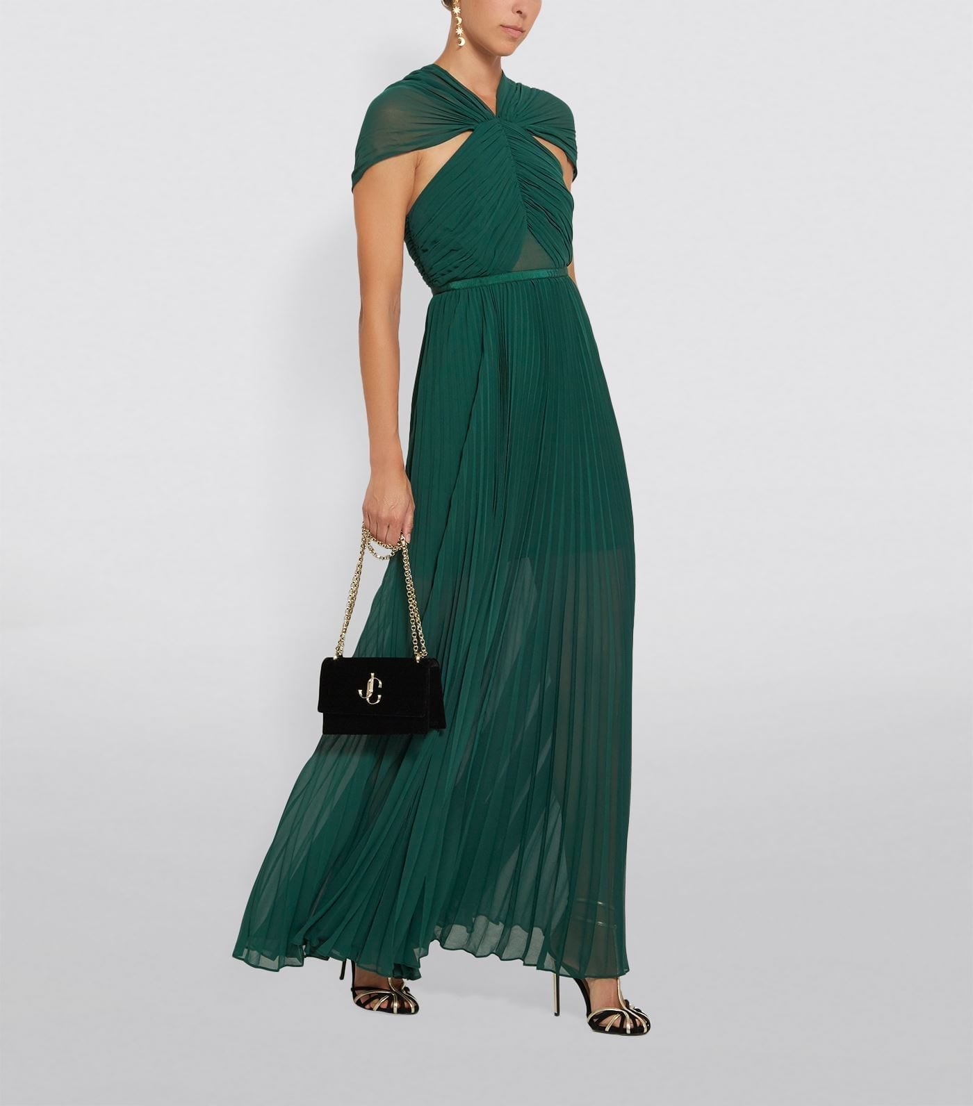 SELF-PORTRAIT Chiffon Pleated Maxi Dress