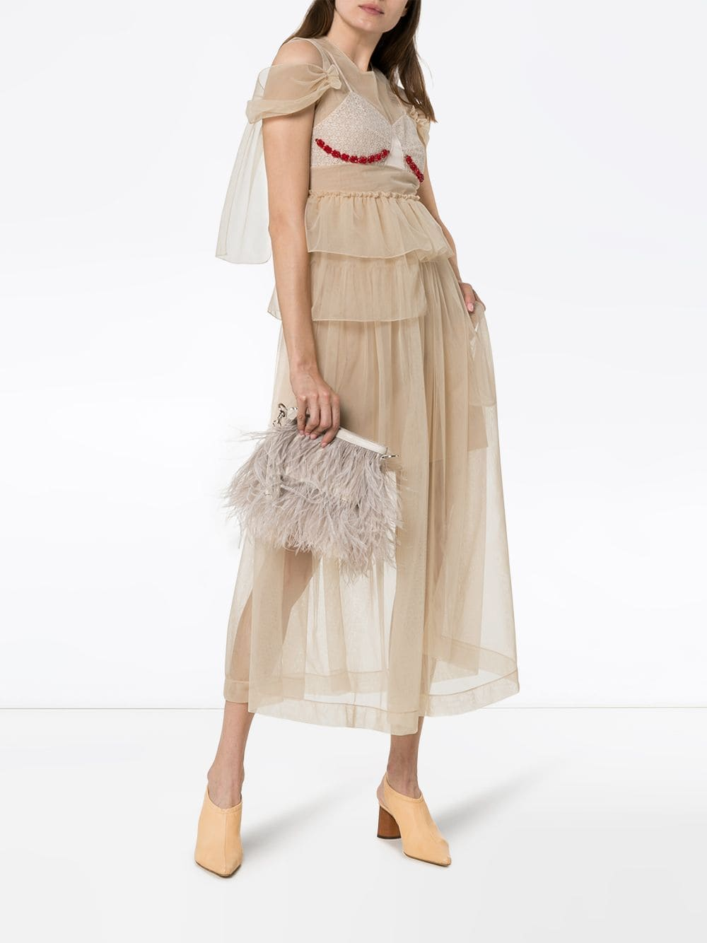 SIMONE ROCHA Sheer Embellished Midi Dress