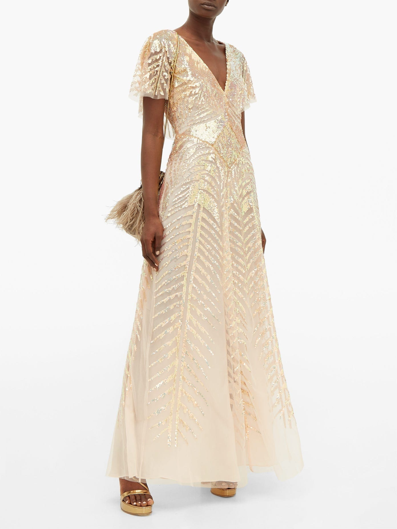 TEMPERLEY LONDON Dusk V-neck Sequinned-tulle Gown