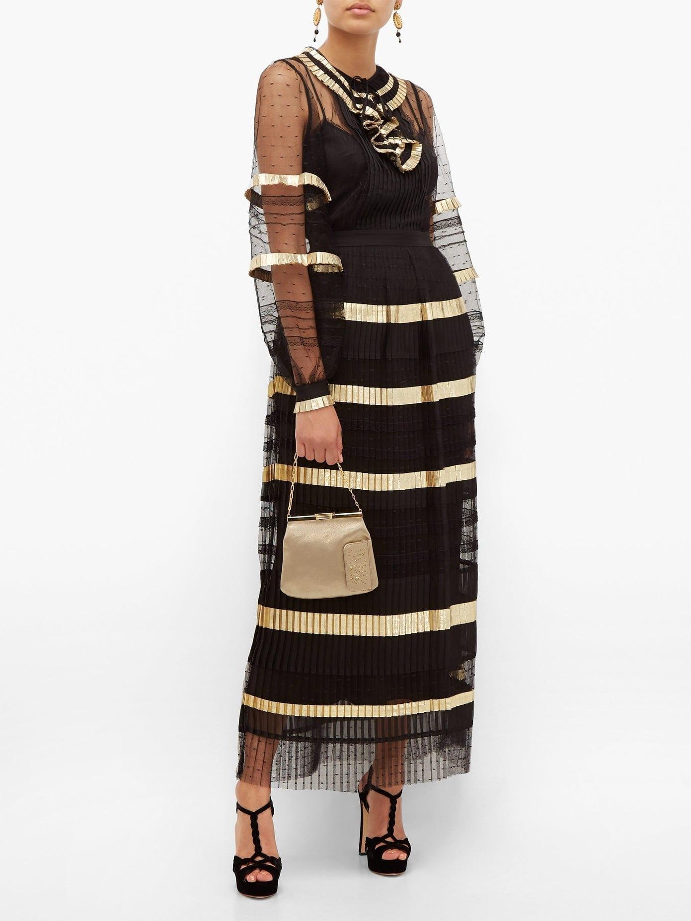 TEMPERLEY LONDON Phantom Pleated Swiss-dot Maxi Dress