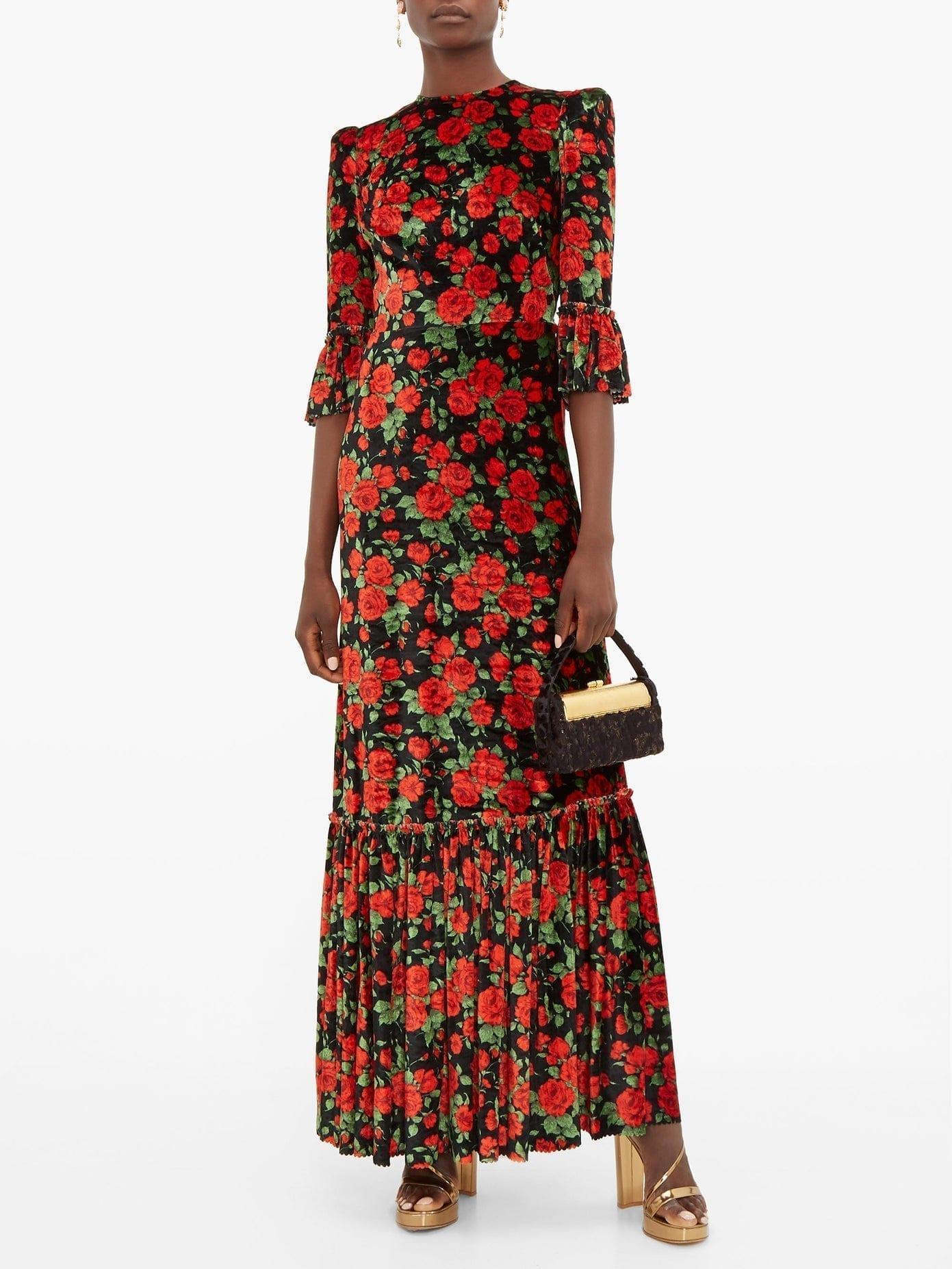 THE VAMPIRE'S WIFE The Wild Rose Floral-print Velvet Dress