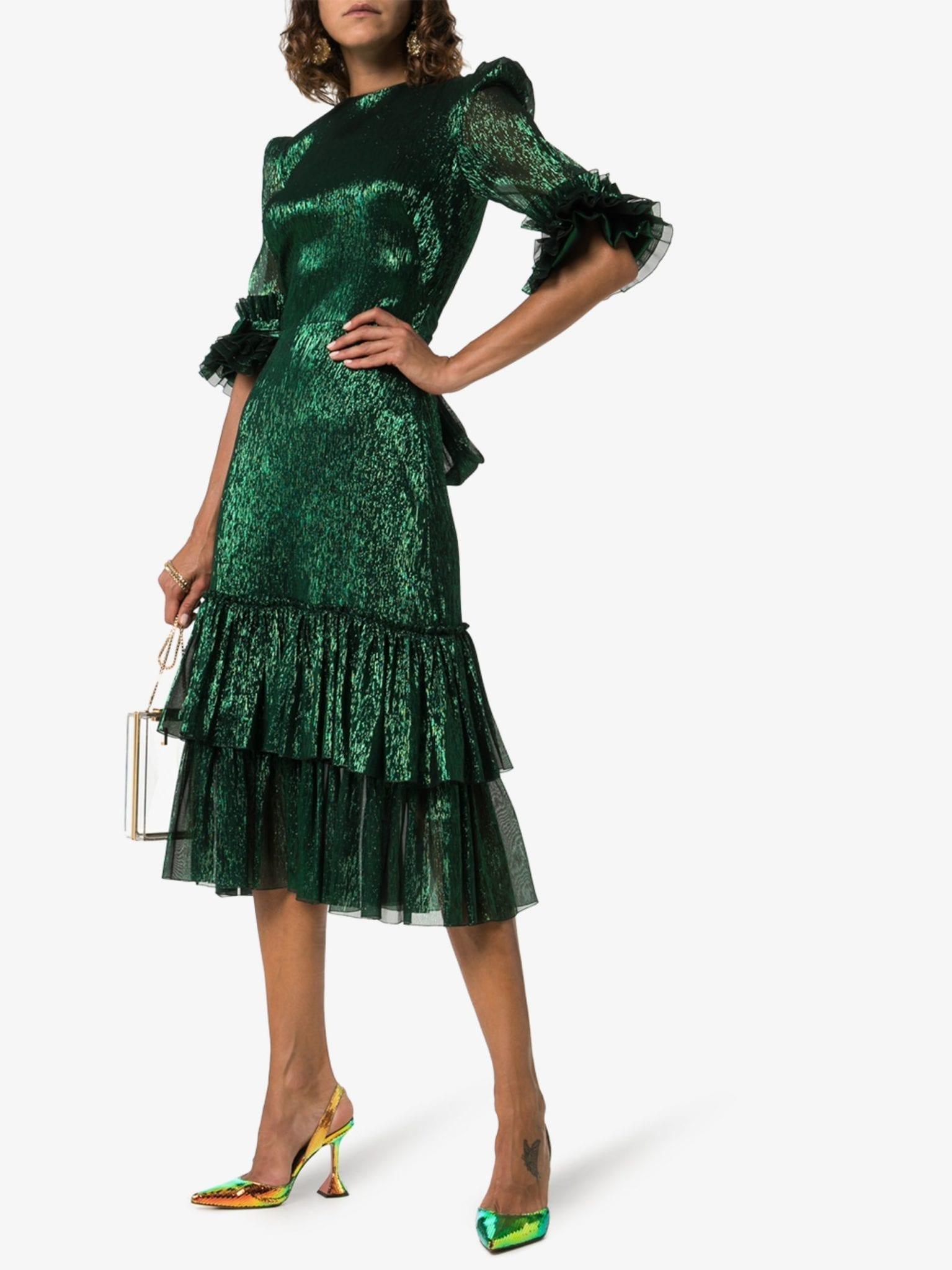 THE VAMPIRE'S WIFE Veneration Leaf Print Silk Dress