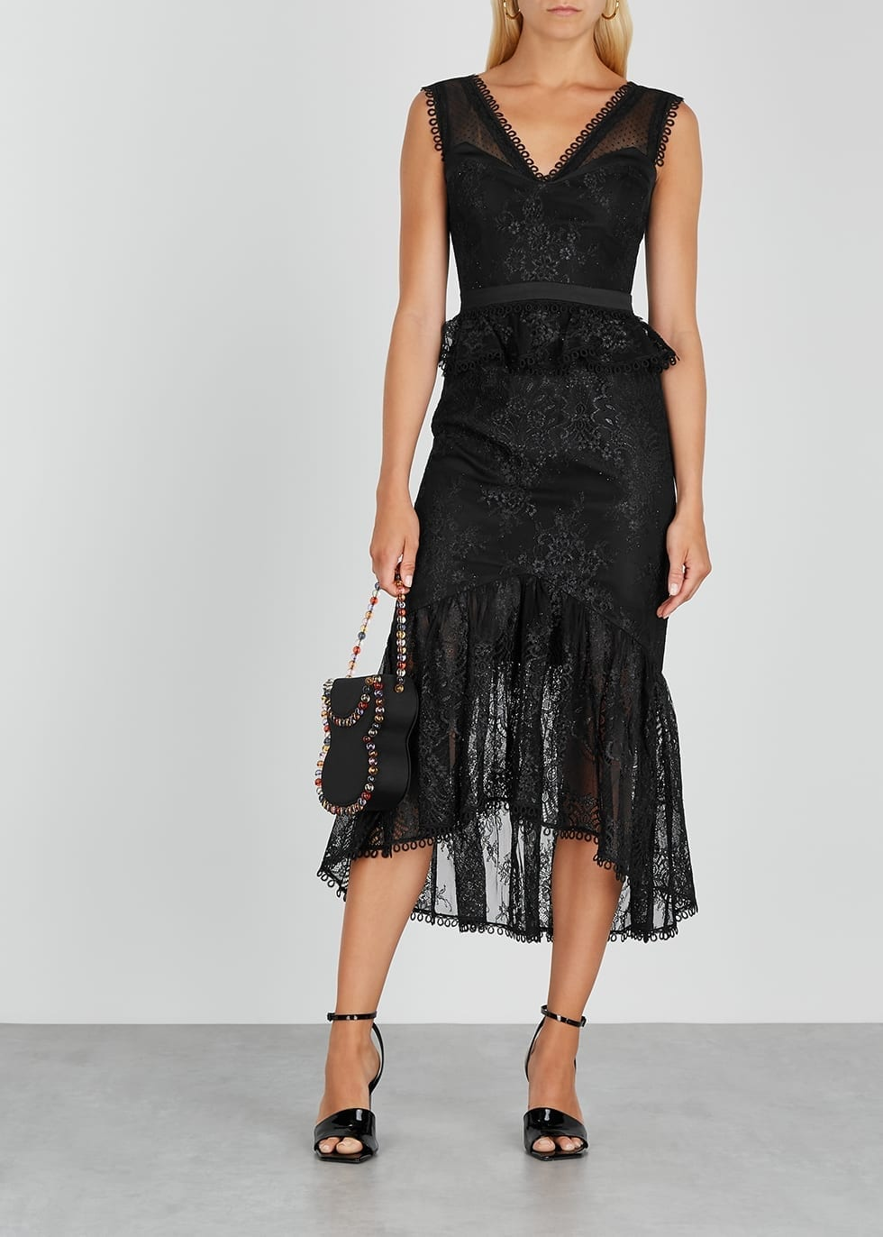 THREE FLOOR Hypnotic Black Metallic Lace Dress