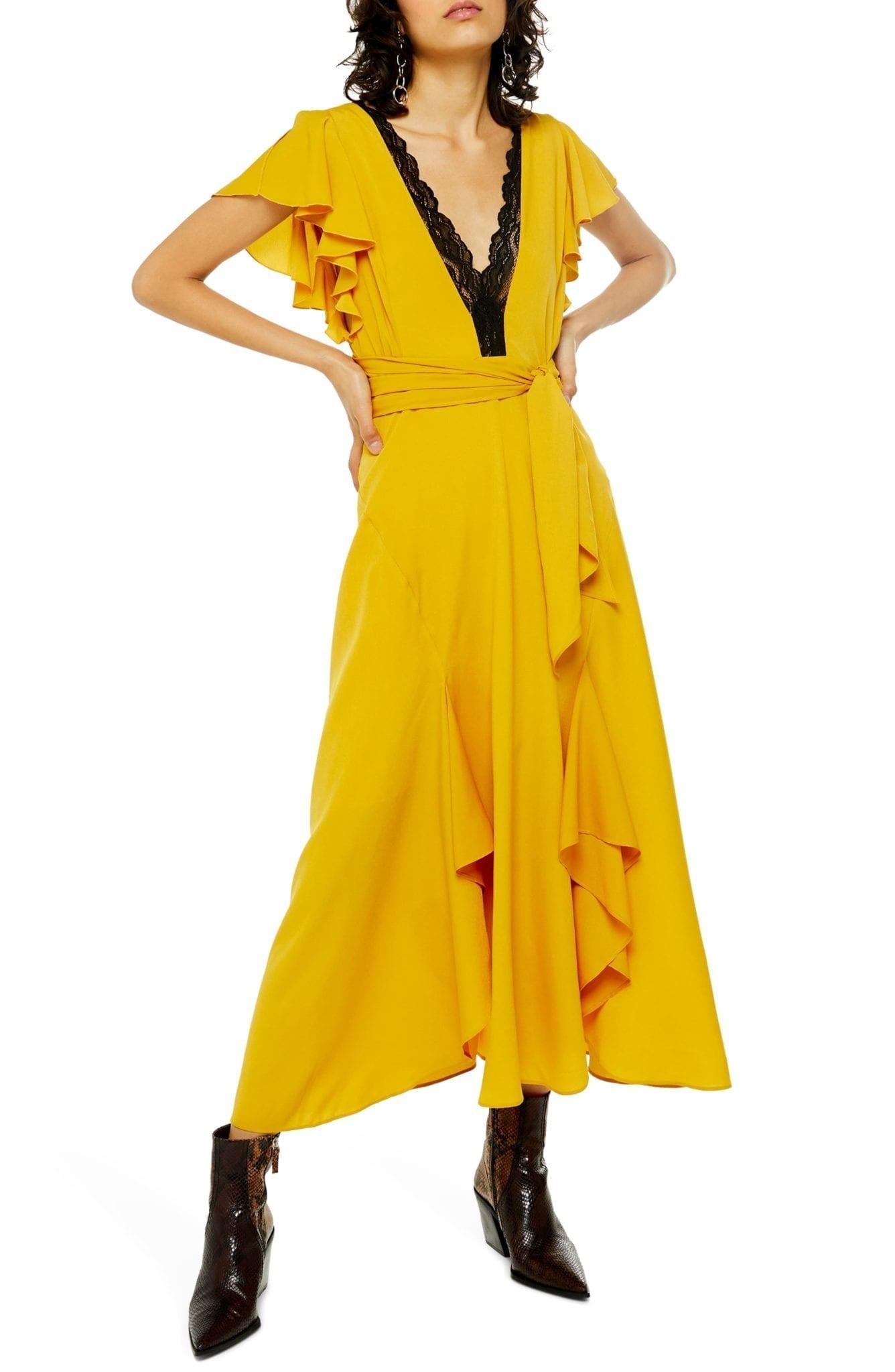 TOPSHOP Lace Inset Midi Dress