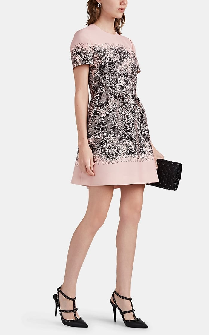VALENTINO Floral-Scribble Crepe Dress