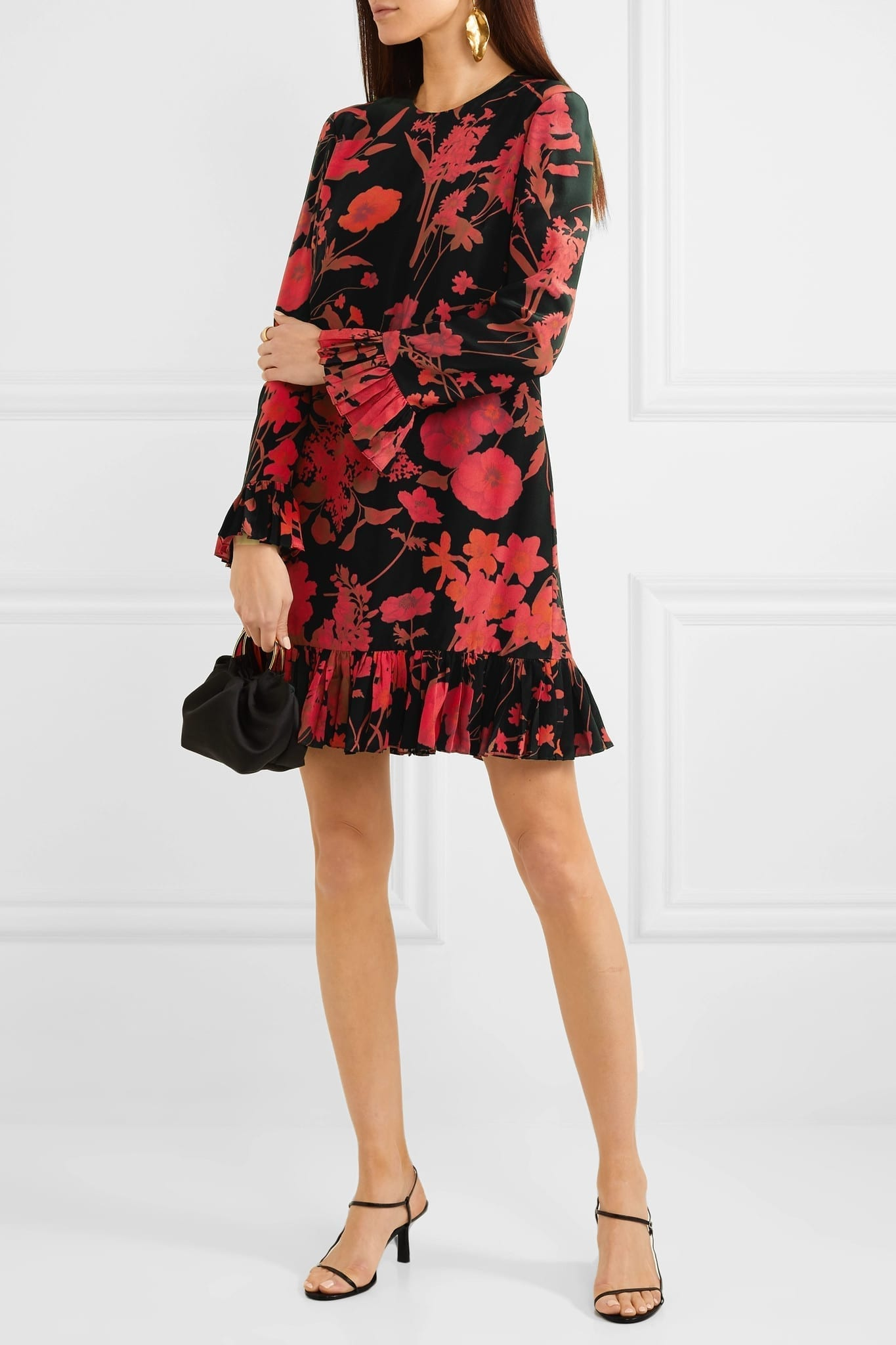 VALENTINO Ruffled Floral-print Silk Crepe De Chine Midi Dress