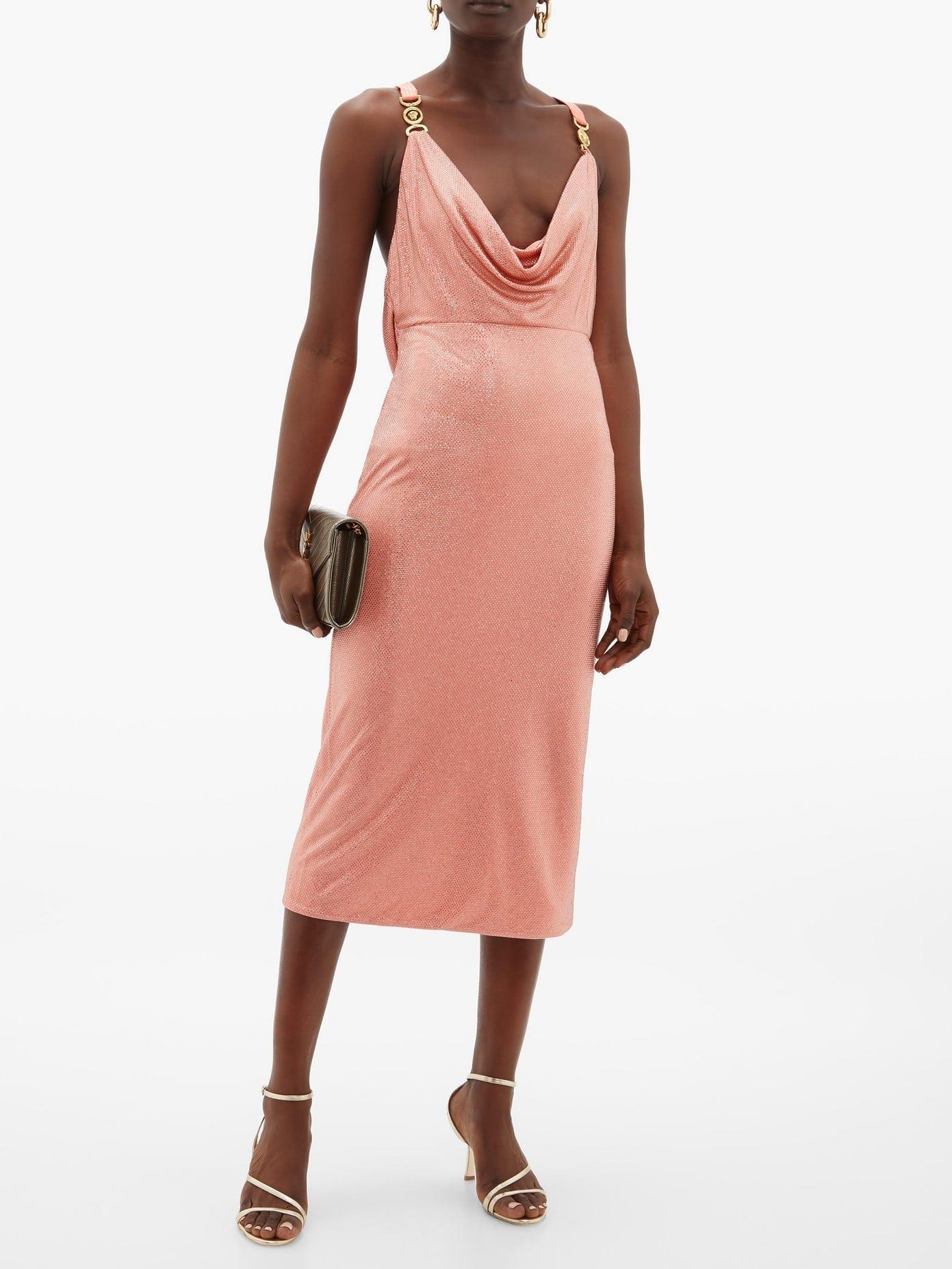 VERSACE Crystal-embellished Cowl-neck Dress