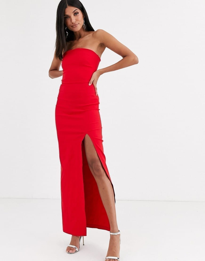VESPER Leg Split Tall Bandeau Maxi Dress