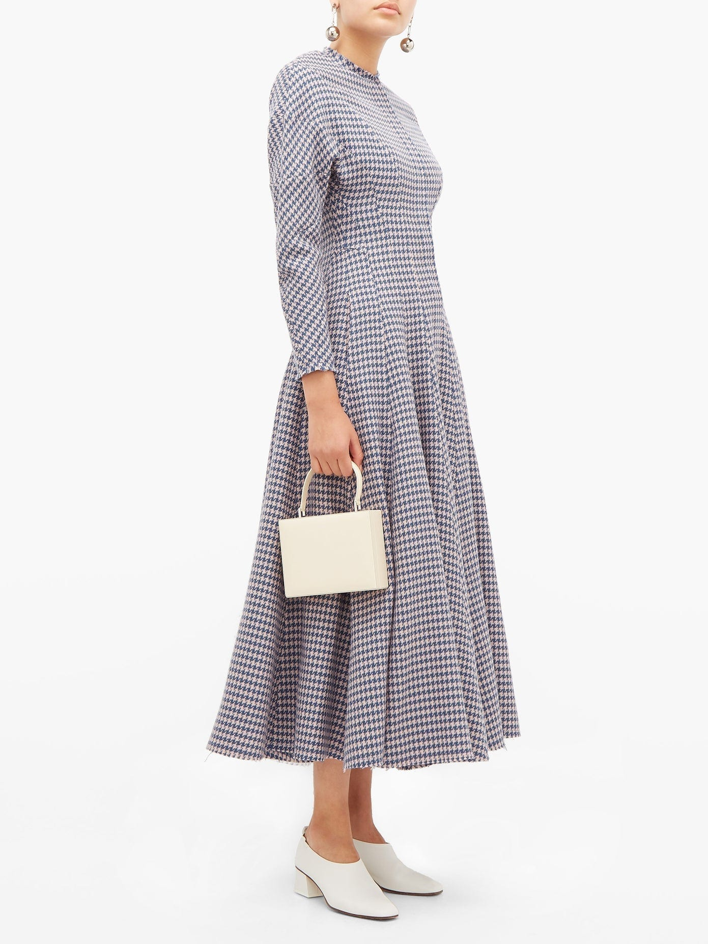 VIKA GAZINSKAYA Flared Houndstooth-wool Dress