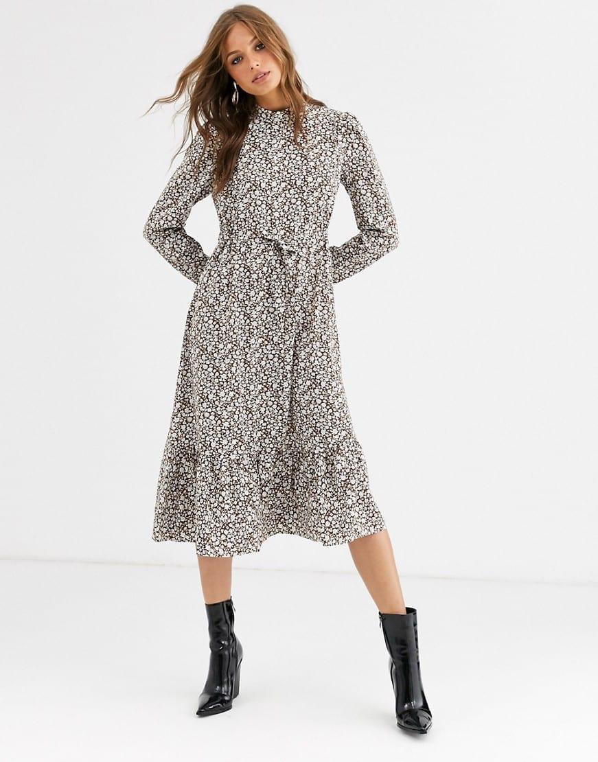 VILA Tie Waist Ditsy Floral Prairie Midi Dress