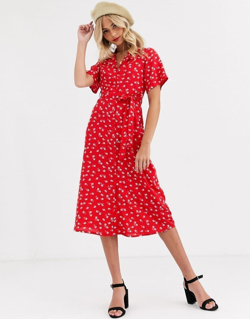 WEDNESDAY'S GIRL Midi Shirt Dress