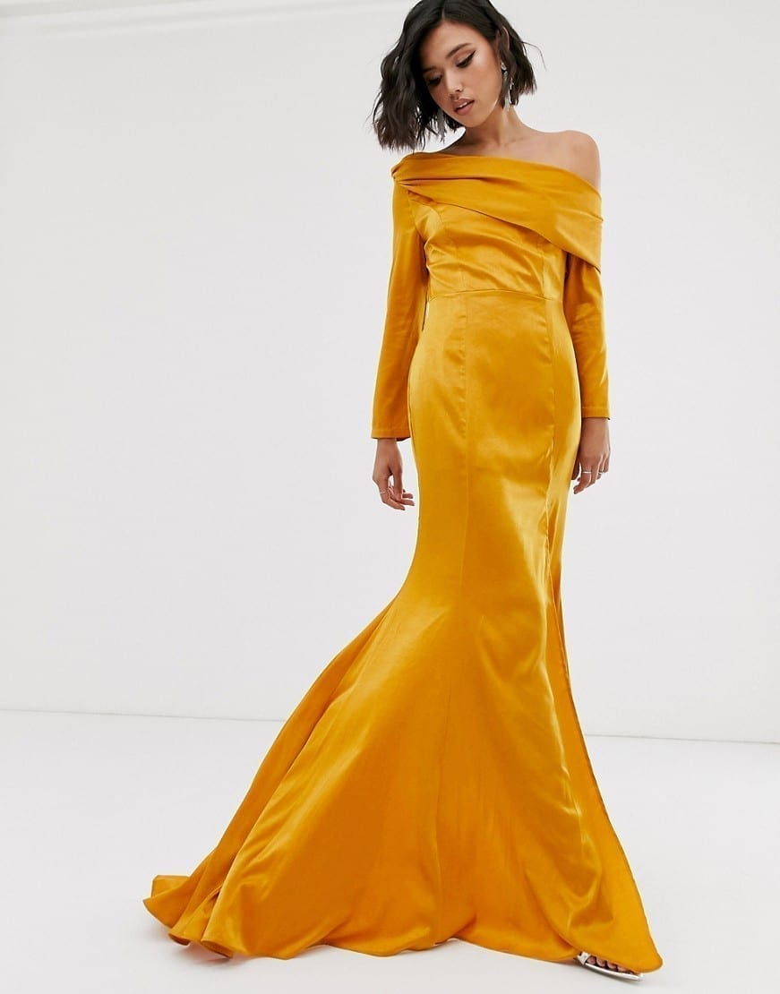 YAURA High Split And Fishtail Bardot Maxi Dress