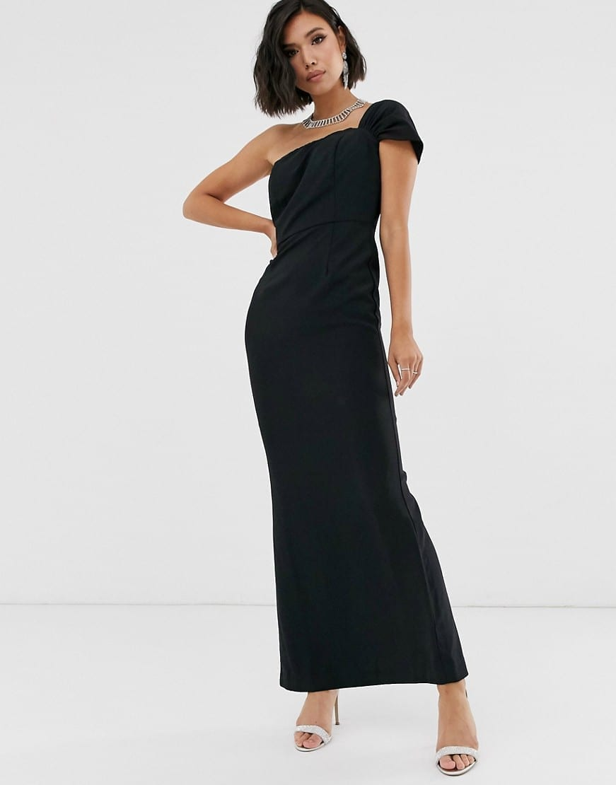 YAURA One Shoulder Bardot Sleek Maxi Dress