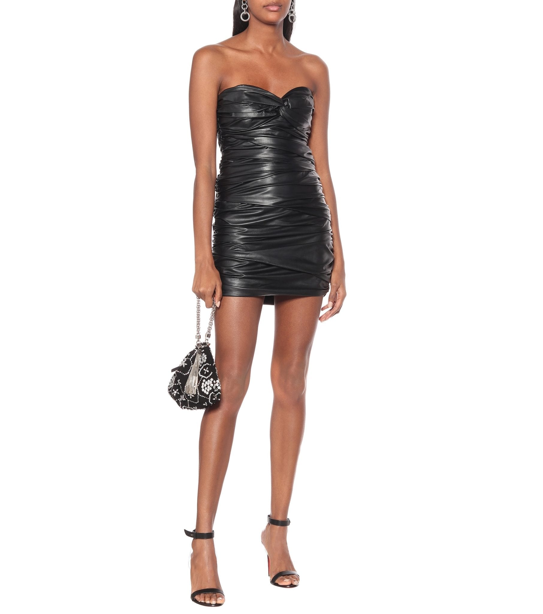 ZEYNEP ARÇAY Gathered Leather Mini Dress