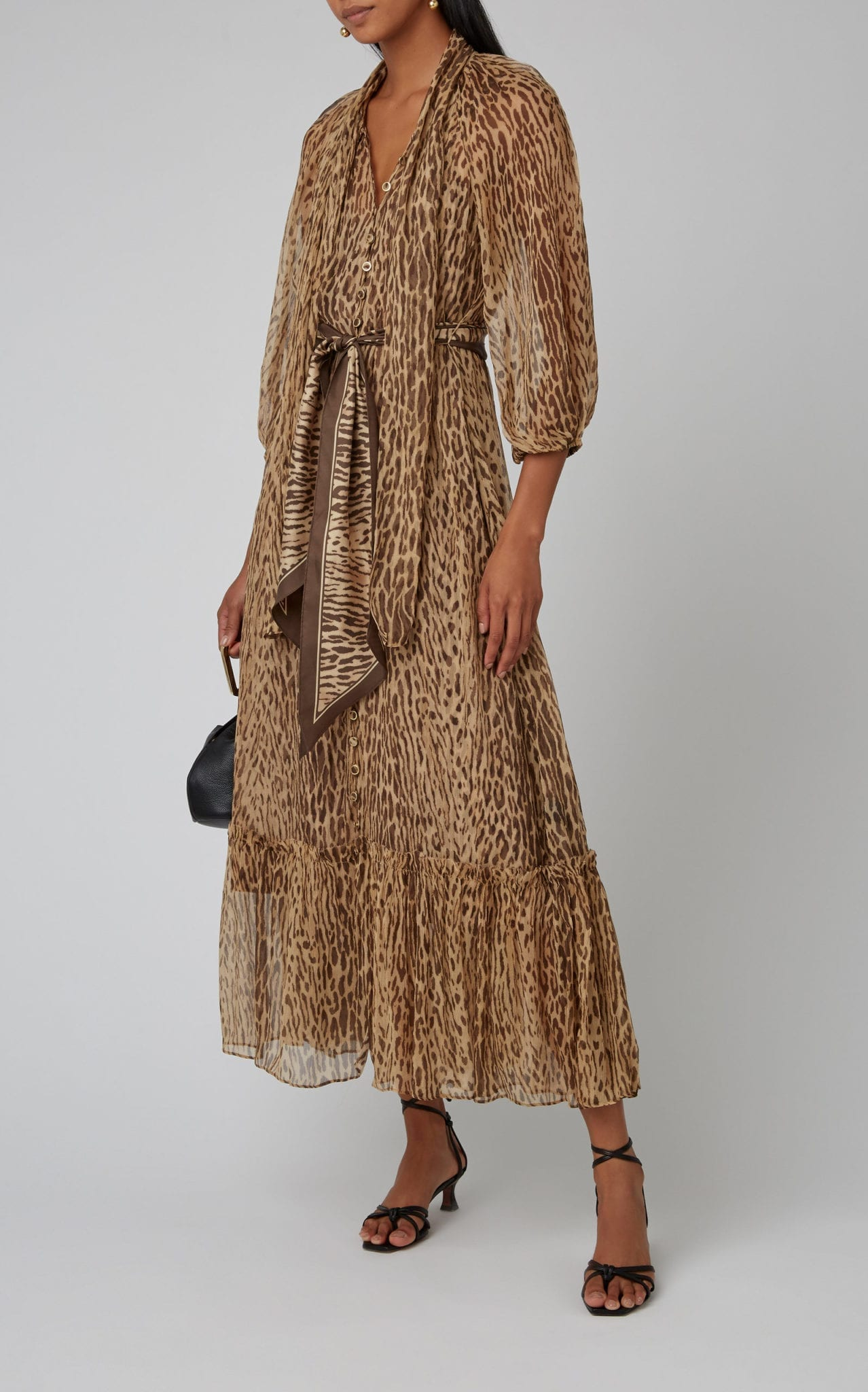 ZIMMERMANN Belted Printed Silk-Chiffon Maxi Dress