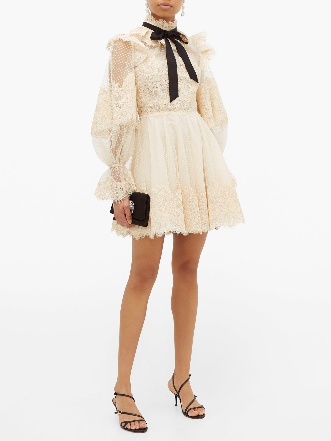 ZIMMERMANN Espionage Pussy-bow Guipure-lace Mini Dress