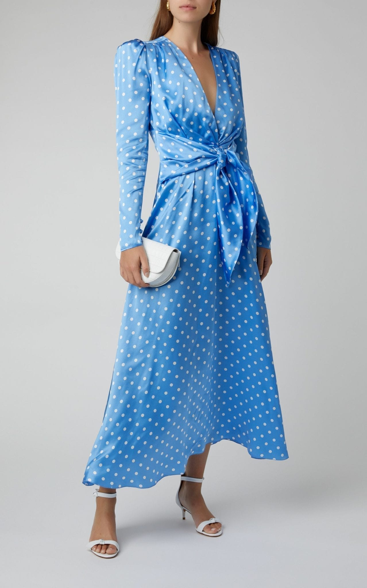 ALESSANDRA RICH Polka Dot Silk Satin Tie Front Dress
