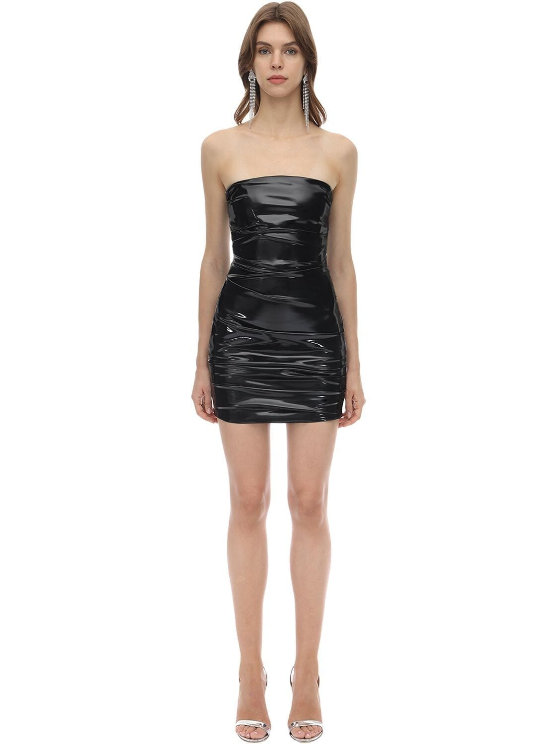 ALEX PERRY Strapless Techno Vinyl Mini Dress