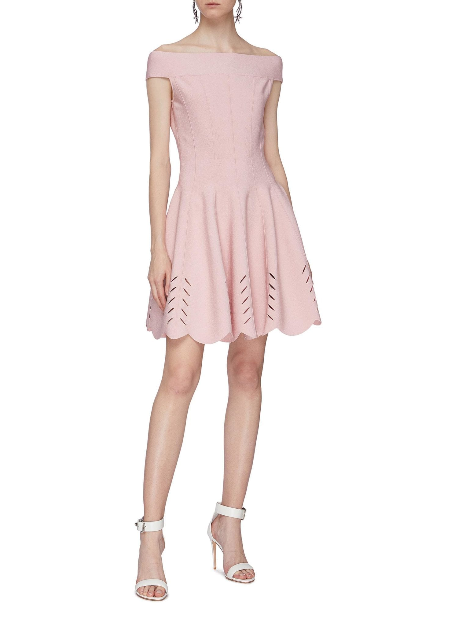 ALEXANDER MCQUEEN Darted Cutout Scalloped Hem Off-shoulder Dress