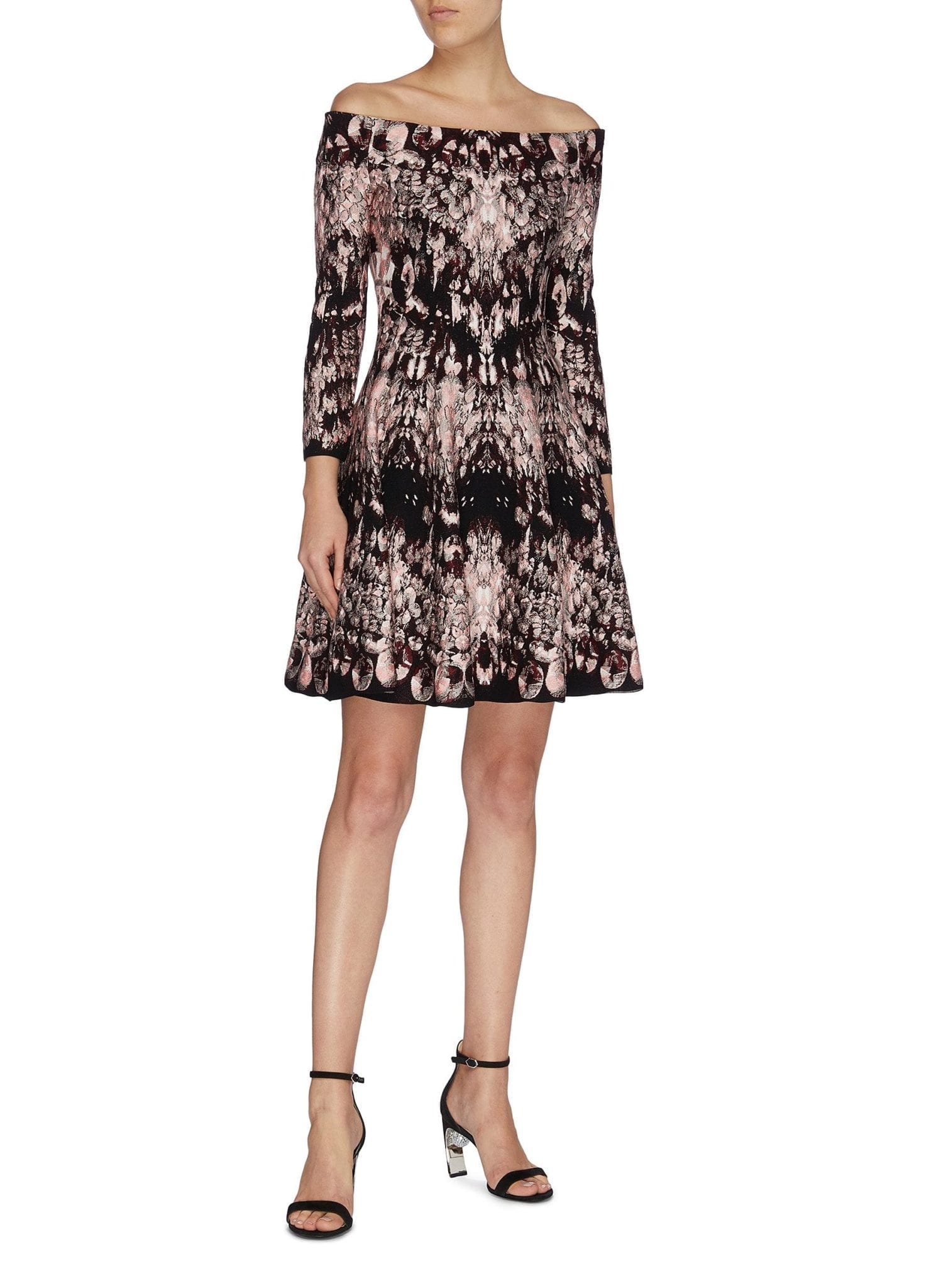 ALEXANDER MCQUEEN Flared Crystal Jacquard Off-shoulder Dress