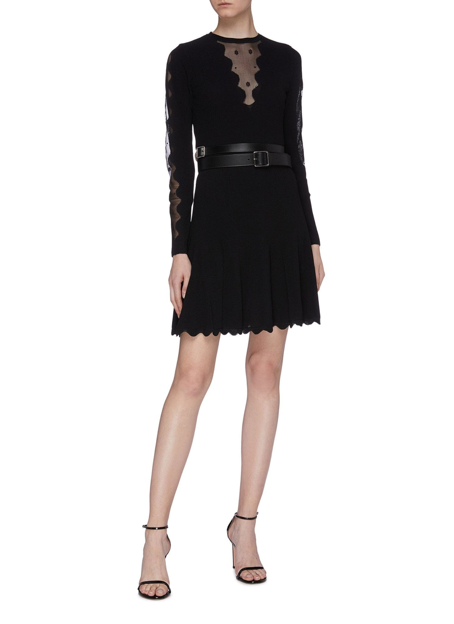ALEXANDER MCQUEEN Scalloped Mesh Yoke Pleated Hem Rib Knit Dress