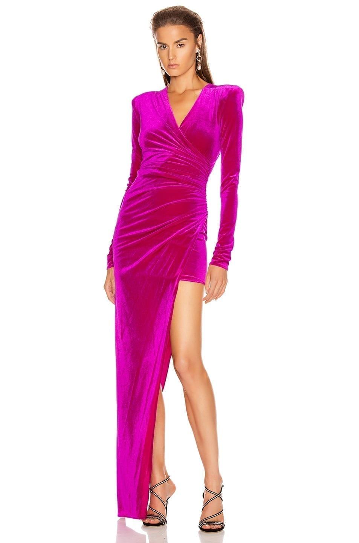 ALEXANDRE VAUTHIER For FWRD Ruched Velvet Gown