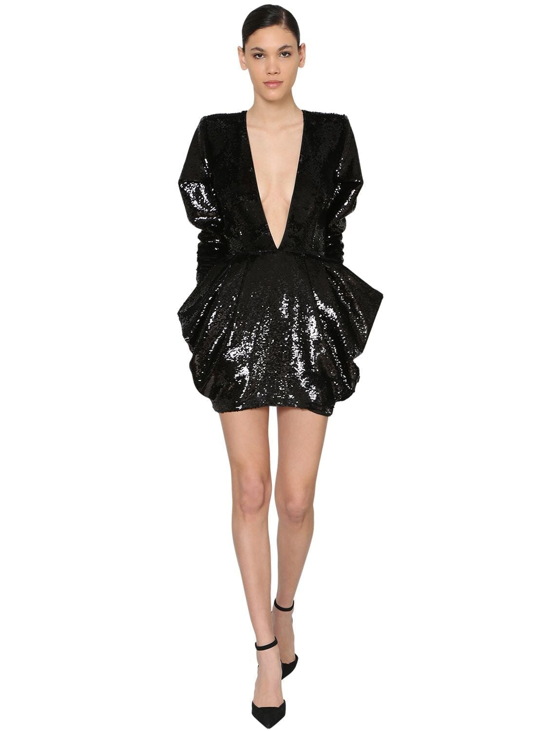 ALEXANDRE VAUTHIER V Neck Sequined Velvet Mini Dress
