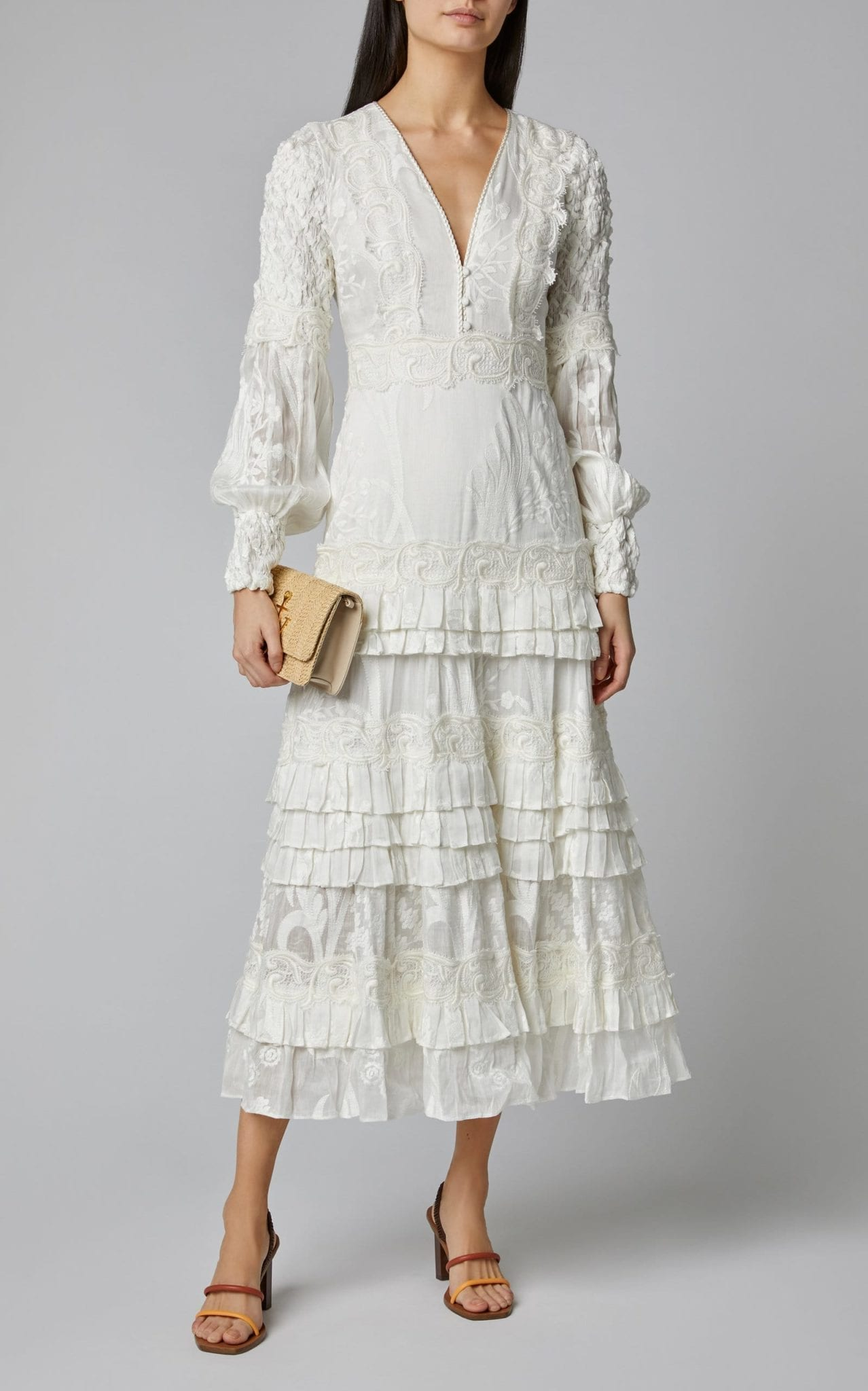 ALEXIS Gallinda Tiered Linen And Silk Blend Midi Dress