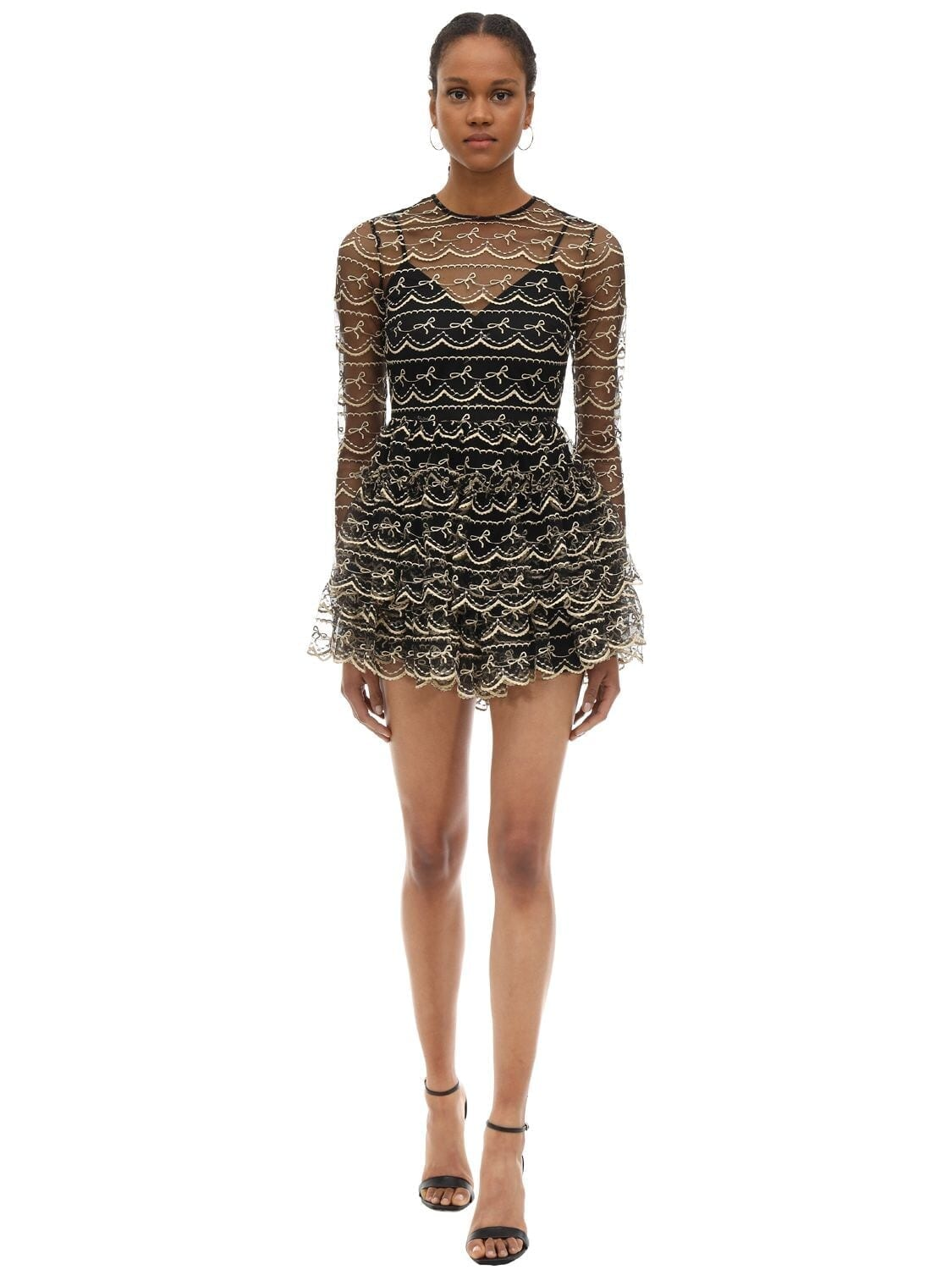 ALICE MCCALL Embroidered Tulle Mini Dress