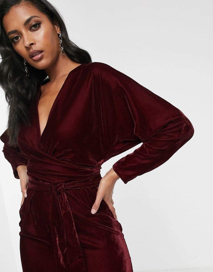 ASOS DESIGN Batwing Sleeve And Wrap Waist Midi Dress