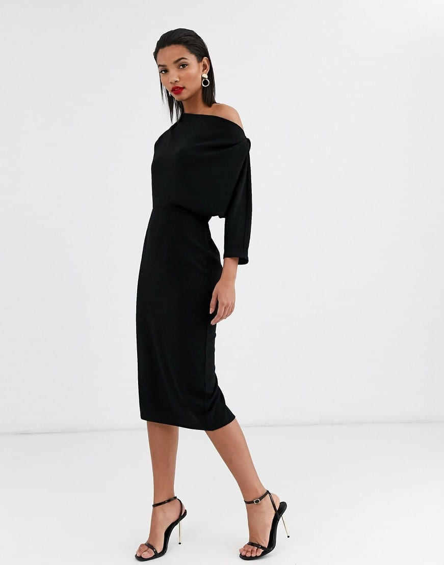 ASOS DESIGN Fallen Shoulder Midi Pencil Dress