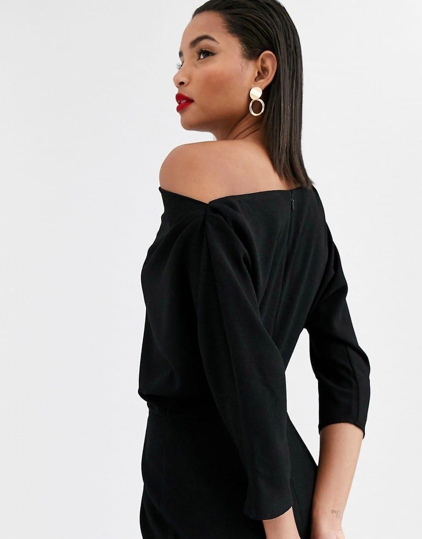 ASOS DESIGN Fallen Shoulder Midi Pencil Dress