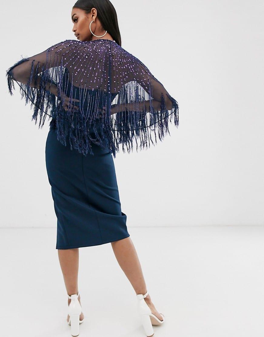 ASOS DESIGN Faux Feather Cape Midi Dress