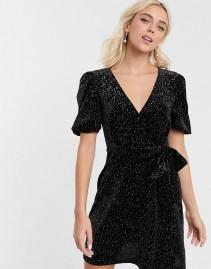 ASOS DESIGN Glitter Velvet Mini Tea Dress