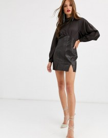 ASOS DESIGN High Neck Satin Top Midi Pencil Dress