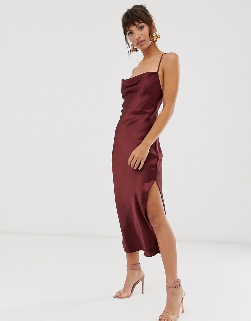 Asos Design Satin With Lace Up Back Midi Slip Dress