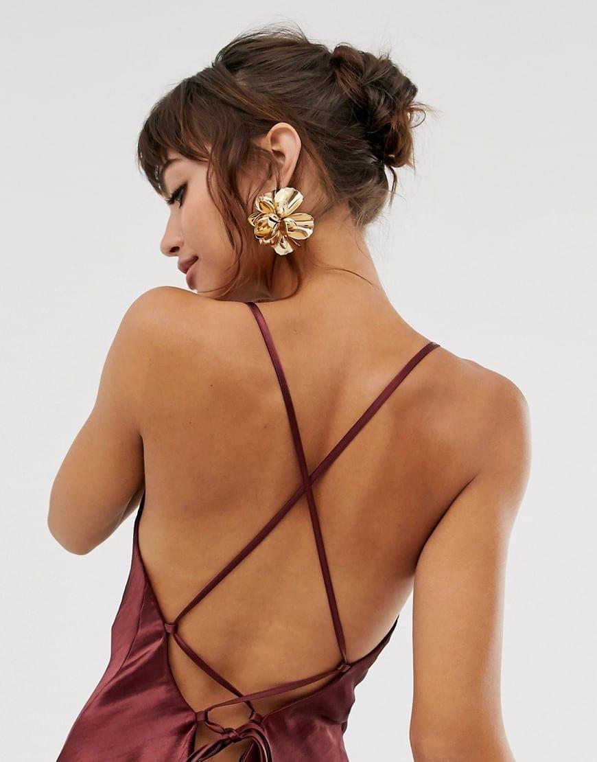ASOS DESIGN Satin With Lace Up Back Midi Slip Dress