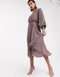 ASOS DESIGN Linear Yoke Embellishment Midi Dress
