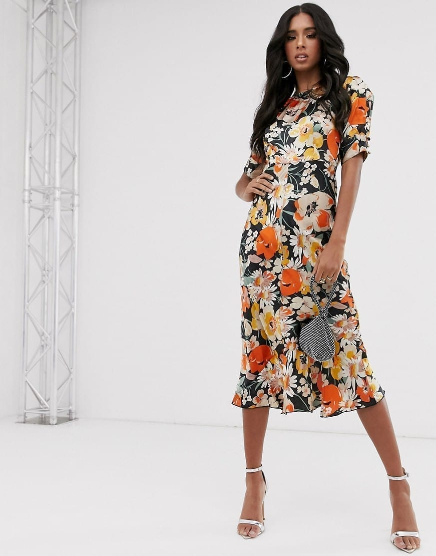 ASOS DESIGN Puff Sleeves Bias Midi Dress