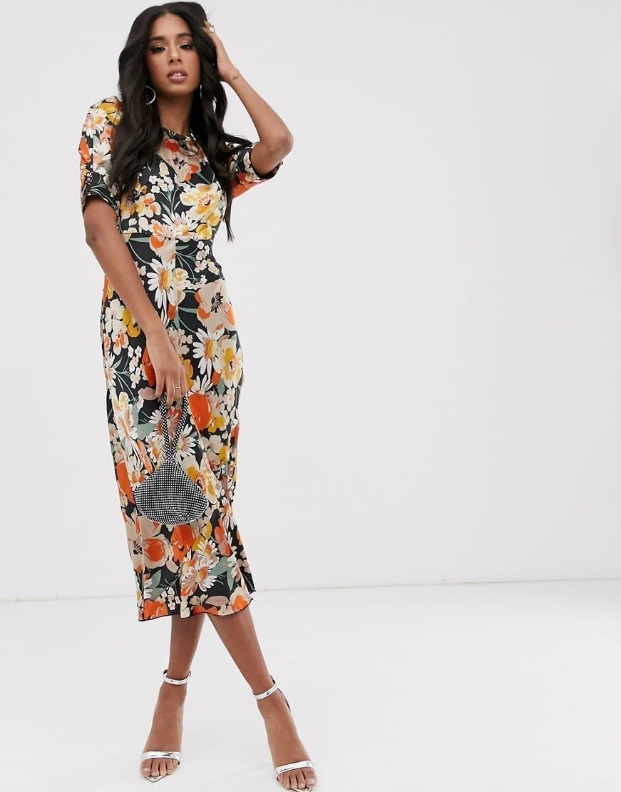 ASOS DESIGN Puff Sleeves Bias Midi Dress