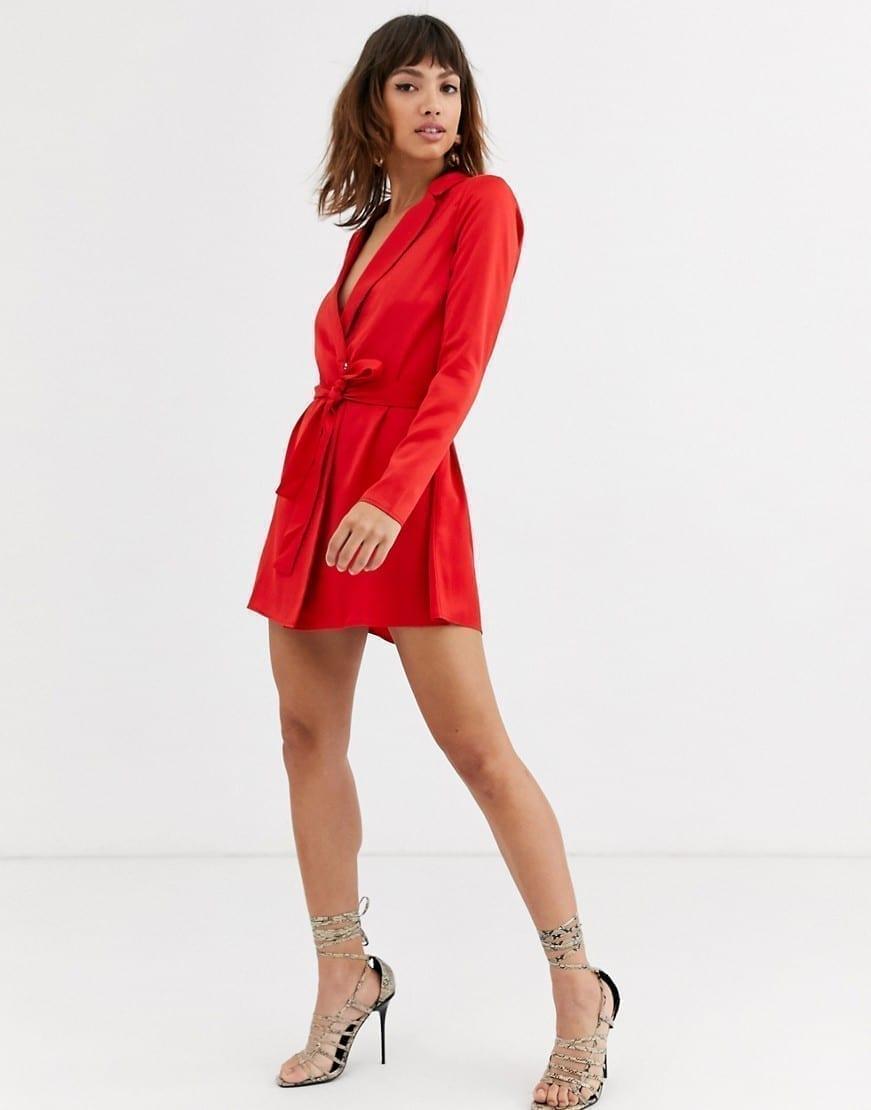 ASOS DESIGN Self Belt Satin Tux Mini Dress
