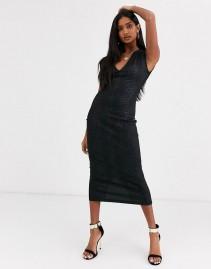 ASOS DESIGN Snake Leather Look Midi Dress
