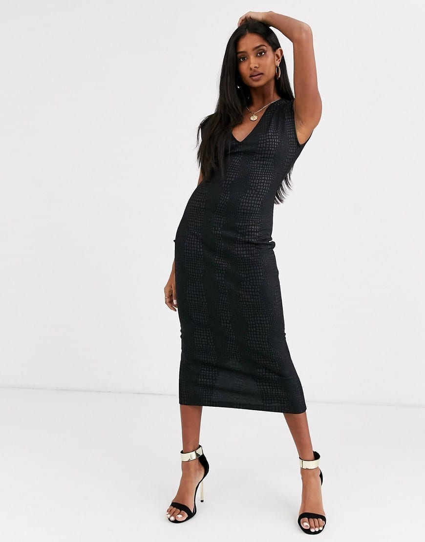 ASOS DESIGN Snake Leather Look Midi Dress