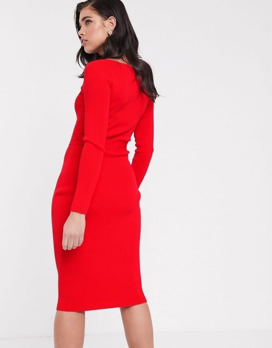ASOS DESIGN Square Neck Belted Midi Dress